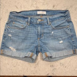 Loft Distressed Low Rise Denim Shorts